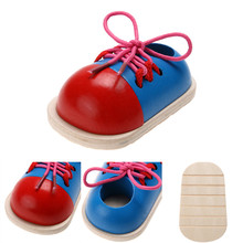Учебных пособий шнуровкой раннее монтессори образование развивающие малыша деревянные обувь мода