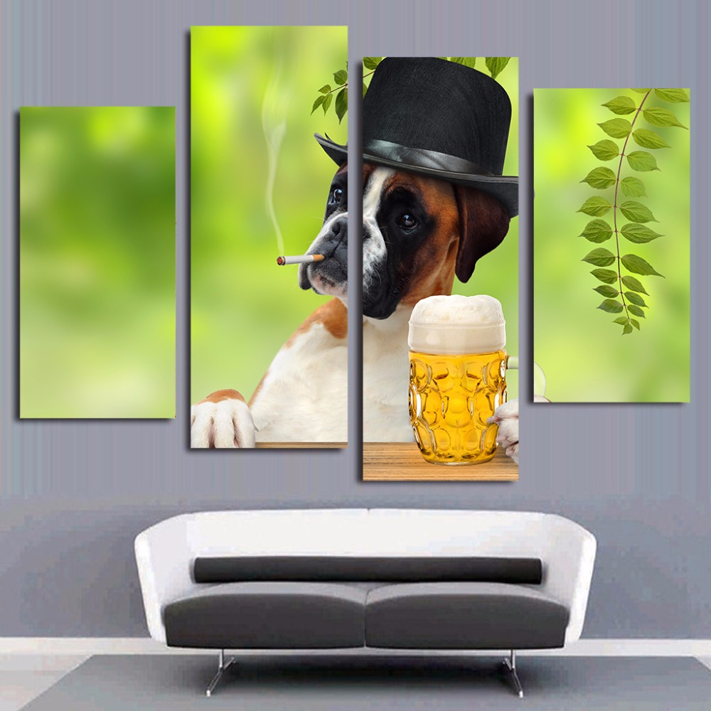 4 panel canvas art canvas painting funny dog smoking for 4 home decor