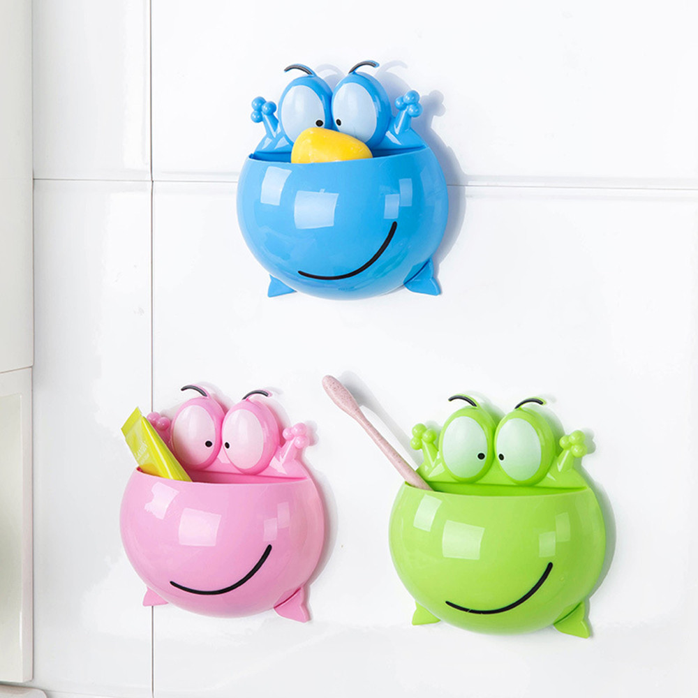 Frogs Cute Cartoon Home Bathroom Toothbrush Holder Wall Mount Suction Cup Toothpaste Storage Rack Toothbrush Rack Children &e image