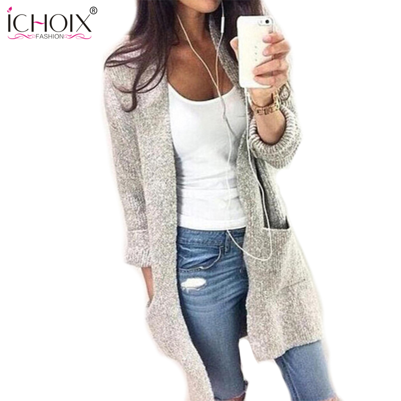 2017 Women Autumn Winter Solid Cardigans Sweaters Warm Loose White ...