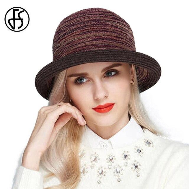 FS vintage Stripe ala corta Fieltro Sombreros de fieltro mujeres invierno  Bowler sombreros elegantes señoras Iglesia 8a5ffa72357