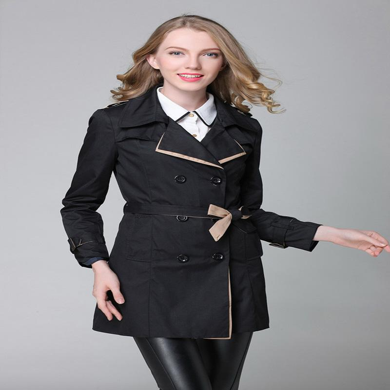 d11a01139 Rench Casaco Para As Mulheres 2016 Moda Turn down Collar Breasted ...