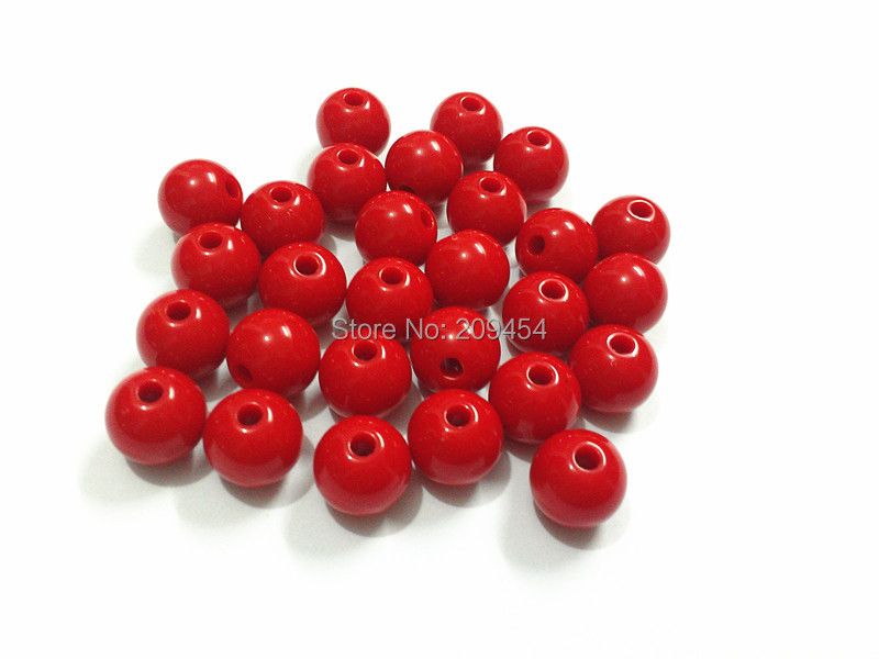 (Escolher o Tamanho Em Primeiro Lugar) 6mm/8mm/10mm/12mm/14mm/16mm/18mm /20mm Red Acrílico Sólidos Beads Para Crianças Fazer Jóia