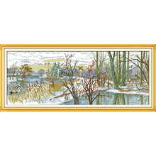 Everlasting love  Beautiful lake Chinese cross stitch kits Ecological cotton stamped printed 11CT DIY Christmas decorations gift