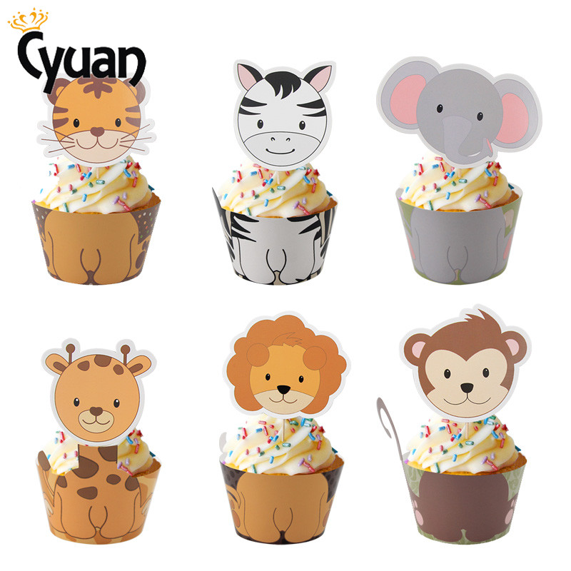 Safari Jungle Animal Cake Toppers Cupcake Wrappers ...