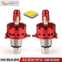 BraveWay ZES Chip Car Headlight H4 LED Bulb 96W 14400LM 6500K Light Automobile Super Headlamp for Motorcycle 12V 24V