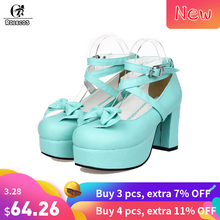 b0fcdff2fcd ROLECOS Sweet Lolita Shoes With Bowknot For Women Thick Platform High Heel  Lolita Shoes Female Gifts