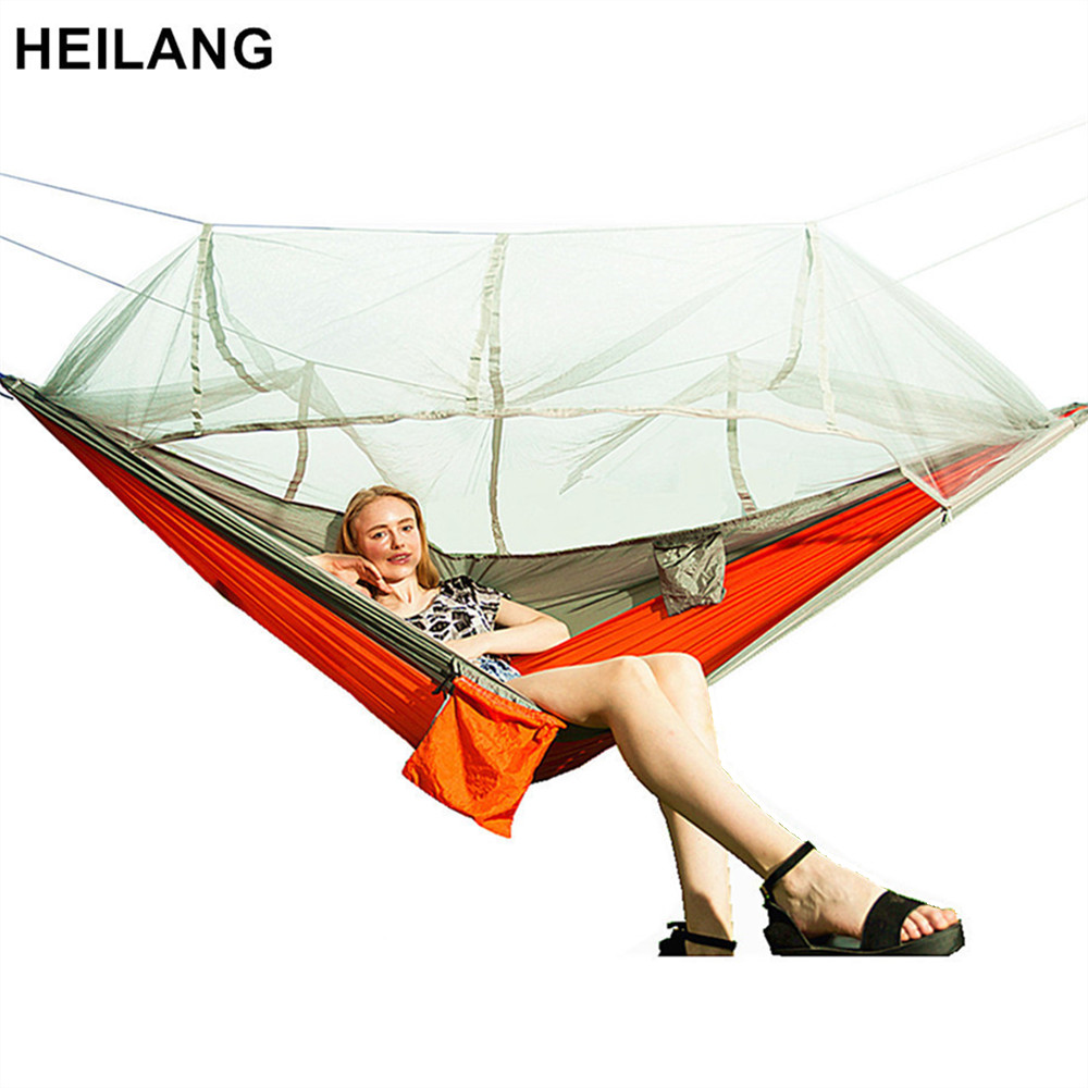 Ultralight Outdoor Camping Hunting Mosquito Net Parachute Hammock 2 Person Flyknit Hamaca Garden Hamak Hanging Bed Leisure Hamac цена 2017