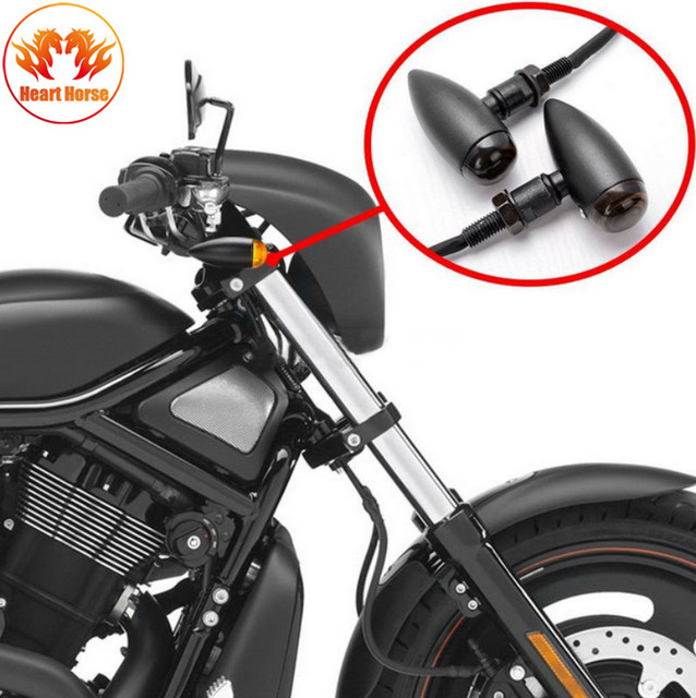 Bullet Metal LED Lens Motorcycle Turn Signal Indicator Flasher Light For Mini Sportster Harley Bobber Chopper
