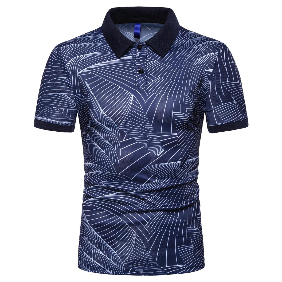 Summer Tops Tees Short sleeve Men   Polo   Shirt Streetwear   Polo   Shirt Men Clothing Wave print White Black Navy