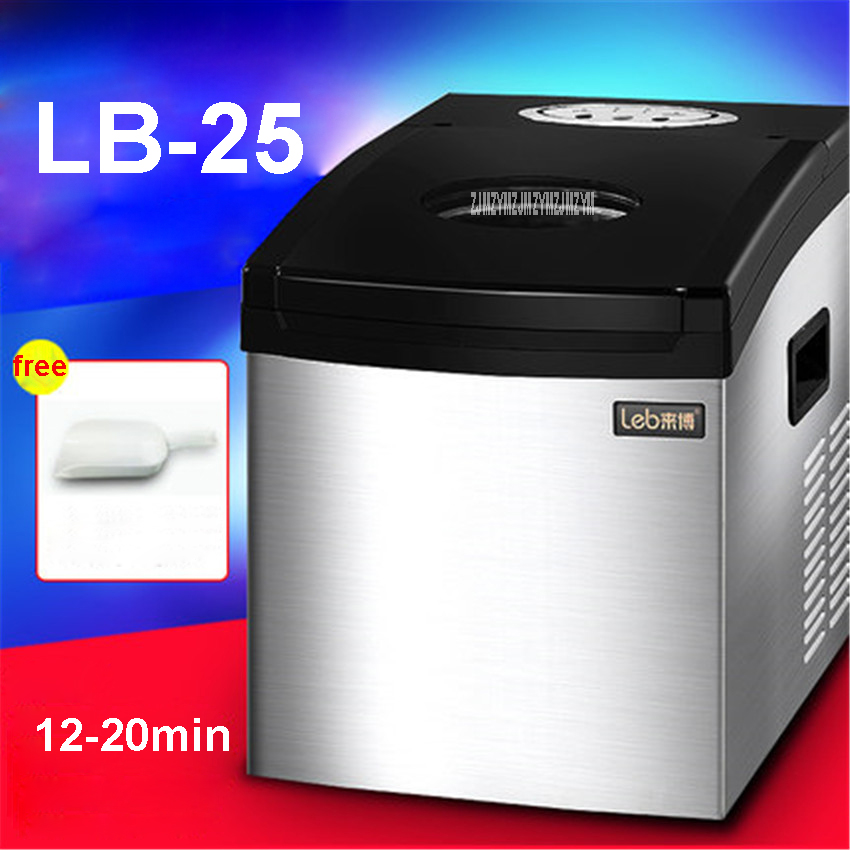 LB-25 220 V/ 50 Hz Commercial Ice Tea Party Ice Cream Shop With Automatic Ice Maker Shop Single Ice Time 10-20 Minutes 110W