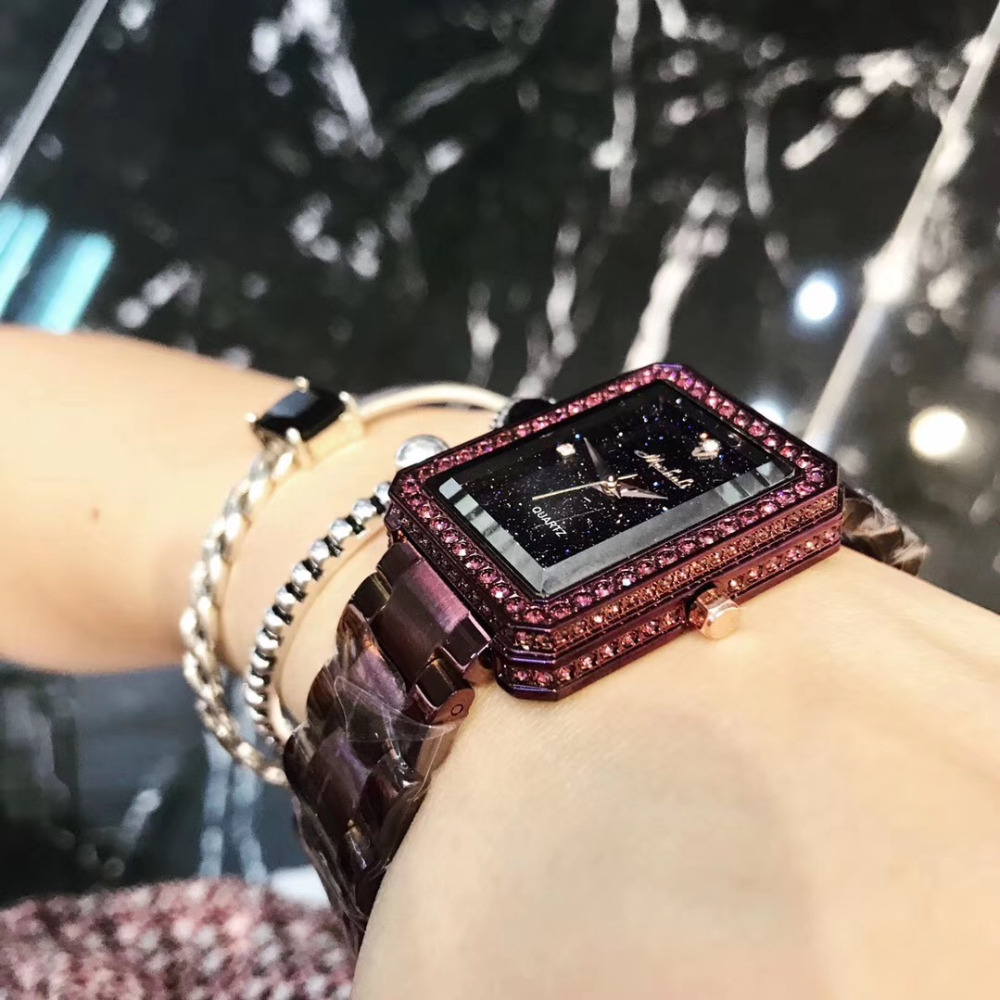Vintage Square Bracelet Watches for Women Anti Fading Noble Purple Full Steel Watch Sparkly Luxury Crystals Wrist watch Quartz