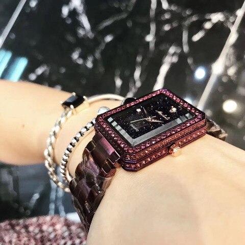 Relógios para as Mulheres do Vintage Cristais de Luxo do Relógio em Aço Relógio de Pulso de Quartzo Quadrado Pulseira Anti Desvanecimento Nobre Roxo Sparkly Completo