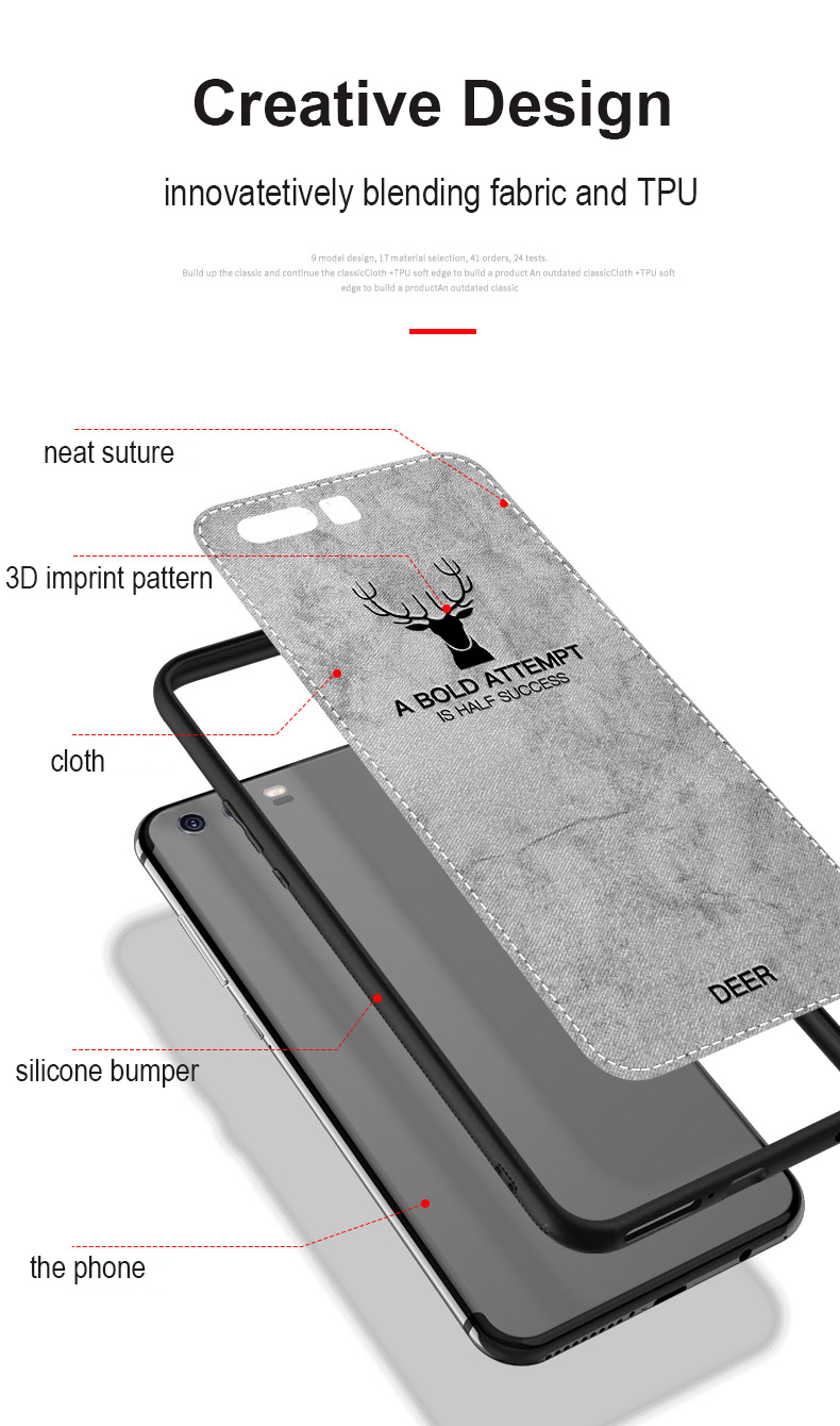 , Fabric Case for Huawei P10 Lite Classic Cloth Matte Skin Soft Hard Back Cover for Huawei P10 Plus Phone Cases