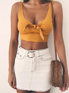 Articat Short Top Tank-Tops Camis Bustier Crop-Top Backless Sexy White V-Neck Women Summer