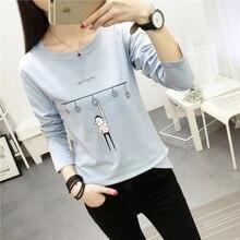 Big size Cartoon t shirt Spring/autumn fashion T-shirt Women's Clothing long sleeved V-neck Student color casual T-shirts M-XXL