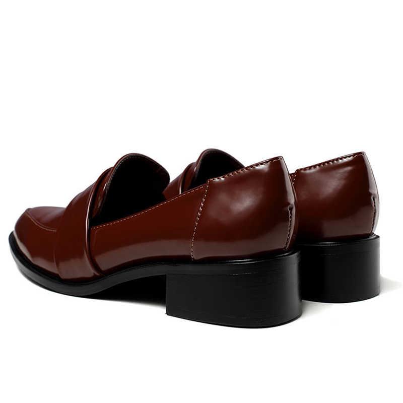 Phụ nữ ăn mặc giày oxford giày giày chính thức làm việc giày dép màu đen căn hộ slip-on retro giày da chính hãng phụ nữ giày giày Cưới đôi giày lười