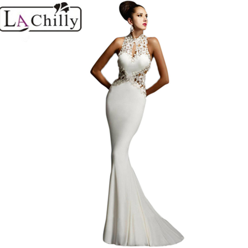 La Chilly 2017 luxurious vestidos White/Black/Red Open Back Fine Flowers Wedding Evening Gown LC60639 sexy autumn winter dresses