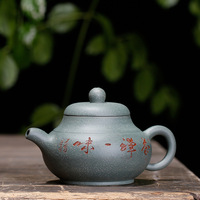 Raw ore handmade yixing teapot purple sand mud green clay pear shaped pot carved drinkware