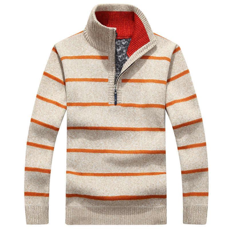 Мужской осенне-зимний новый свитер с воротником с флисовым пуловером в полоску с флисовым свободного толстого тонального вязаного кардигана