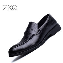 ZXQ New Fashion Spring Autumn Men Formal Wedding Shoes Black Men Business Dress Shoes Men Loafers