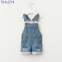SHUZHI New Arrive Summer Style Children Clothing Overalls Baby Shorts Girls Pants Suspenders Jeans Kids Clothes