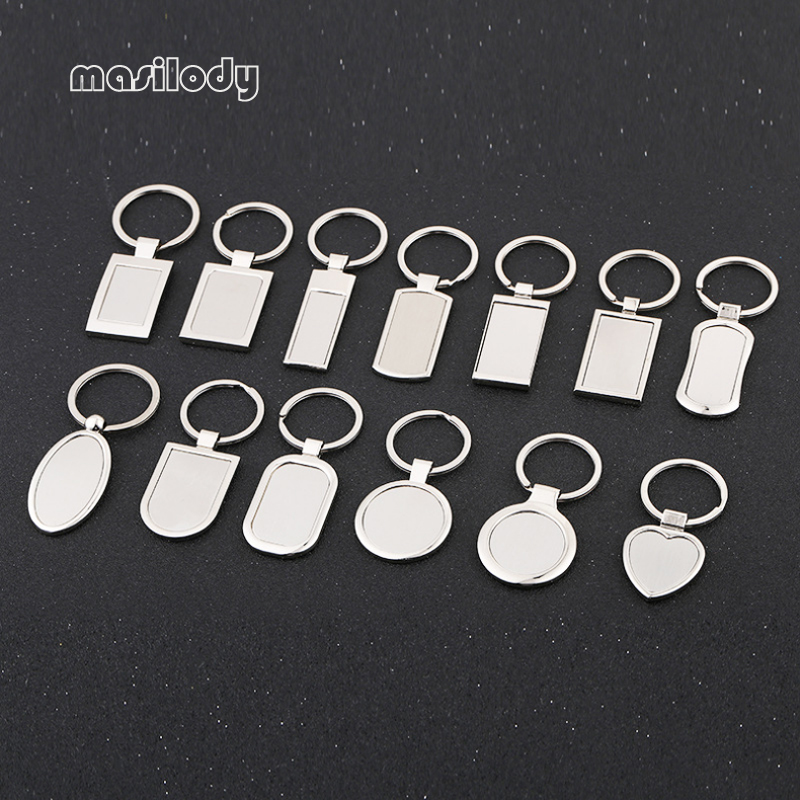100pcs Lot Metal Blank Keychain DIY Logo Key Chain 12 Designs Keyring For Laser Logo