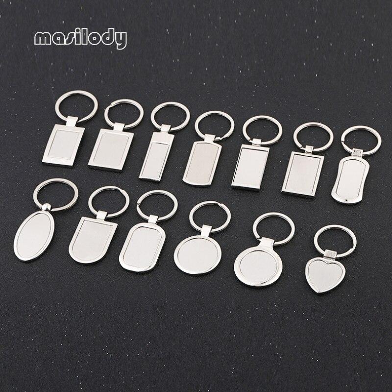 100 sztuk/partia metalowy gładki brelok Logo DIY brelok do kluczy 12 wzorów brelok dla Laser Logo w Breloczki na klucze od Biżuteria i akcesoria na  Grupa 1