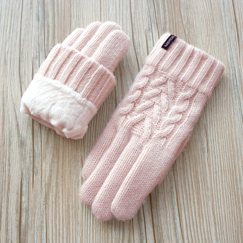 High Quality Autumn Winter Women Knitted Gloves Touch Screen Gloves Velvet Thick Warm Wool Cashmere Solid Gloves Women Mittens