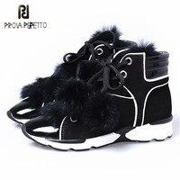 Prova Perfetto зима теплая и удобная острый носок вулканизированной Обувь с Банни Мех животных мягкая подошва женские полусапожки на танкетке Обу