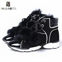 Prova Perfetto/зимняя теплая и удобная Вулканизированная обувь с острым носком и кроличьим мехом на мягкой подошве, женские ботильоны на танкетке