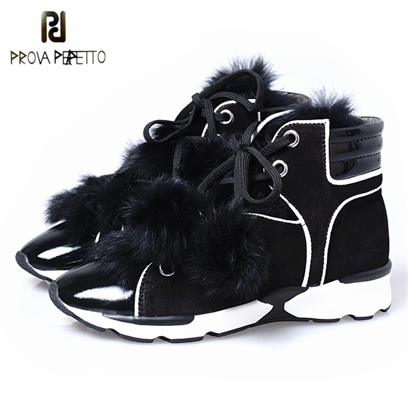 Prova Perfetto Winter Warm And Comfortable Pointed Toe Vulcanized Shoes With Bunny Fur Soft Sole Woman Ankle Wedge Shoes