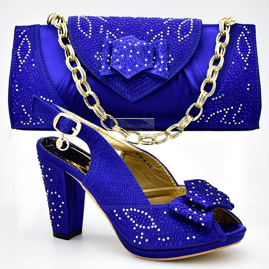 Nouvelle chaussure et sac pour la fête nigériane chaussures italiennes et sacs pour assortir les chaussures avec un ensemble de sac décoré avec des pompes d'été en strass - 4