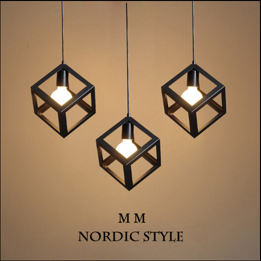 Cubic iron pendant lights modern brief restaurant foyer lighting with a 40w Edison light bulb-in Pendant Lights from Lights u0026 Lighting on Aliexpress.com ... & Cubic iron pendant lights modern brief restaurant foyer lighting ...