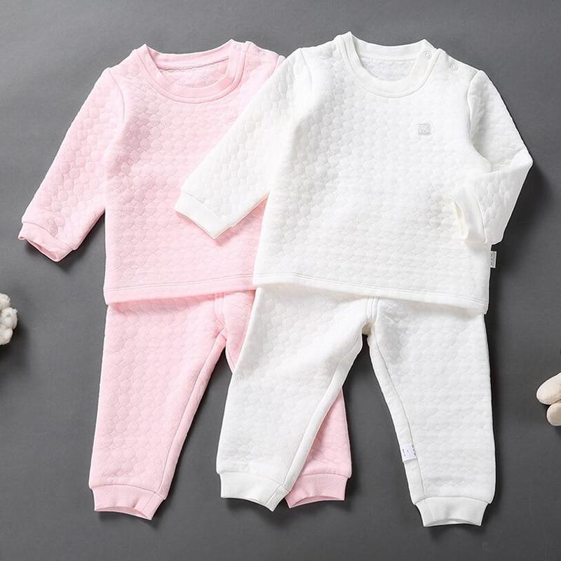 2017 Neue Kinder Lange Unterhosen Kinder Langarm Pullover Thermische Unterwäsche Jungen Mädchen Warme Baumwolle Gepolsterte Pyjamas Set