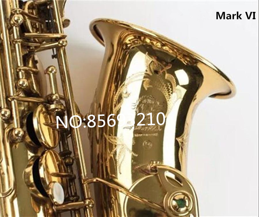Mark VI High Quality Alto Eb Saxophone Professional Musical Instrument Brass Gold Plated Sax Pearl Buttons