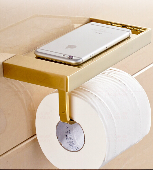 ФОТО fashion total brass gold finished Europe style bathroom paper holder with phone flat roof,bathroom accessories