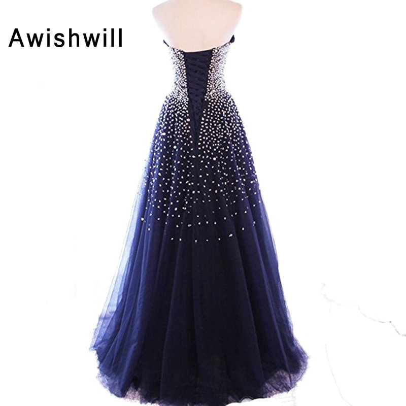 2018 New Custom Made Party Evening Dresses Lace-up Back Strapless Shiny Beads Tulle A-line Vestidos de Fiesta Long Dress Prom