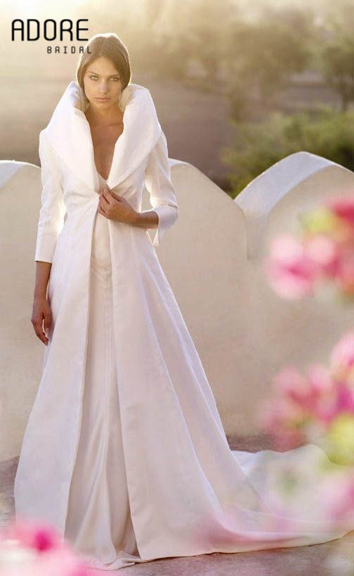 Home Accessories Stores >> White/ivory satin bridal wraps winter wedding capes bridesmaids cloaks women party coat outwear ...