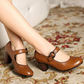 Autumn and winter new retro Genuine leather thick with Women shoes Mary Jane high-heeled Large size female shoes pumps