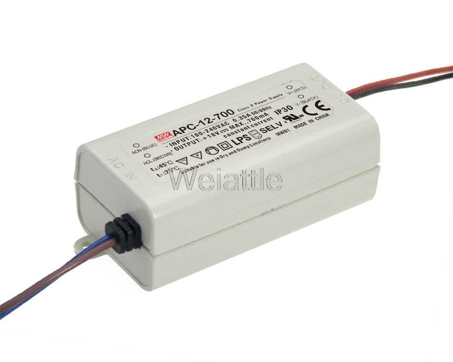 9 ~ 18 V 9 ~ 36 V 500mA 700mA APC-12-700 MEAN WELL APC-12-350 12.6 W AC-DC oświetlenie LED jazdy samochodem zasilacz impulsowy prąd stały