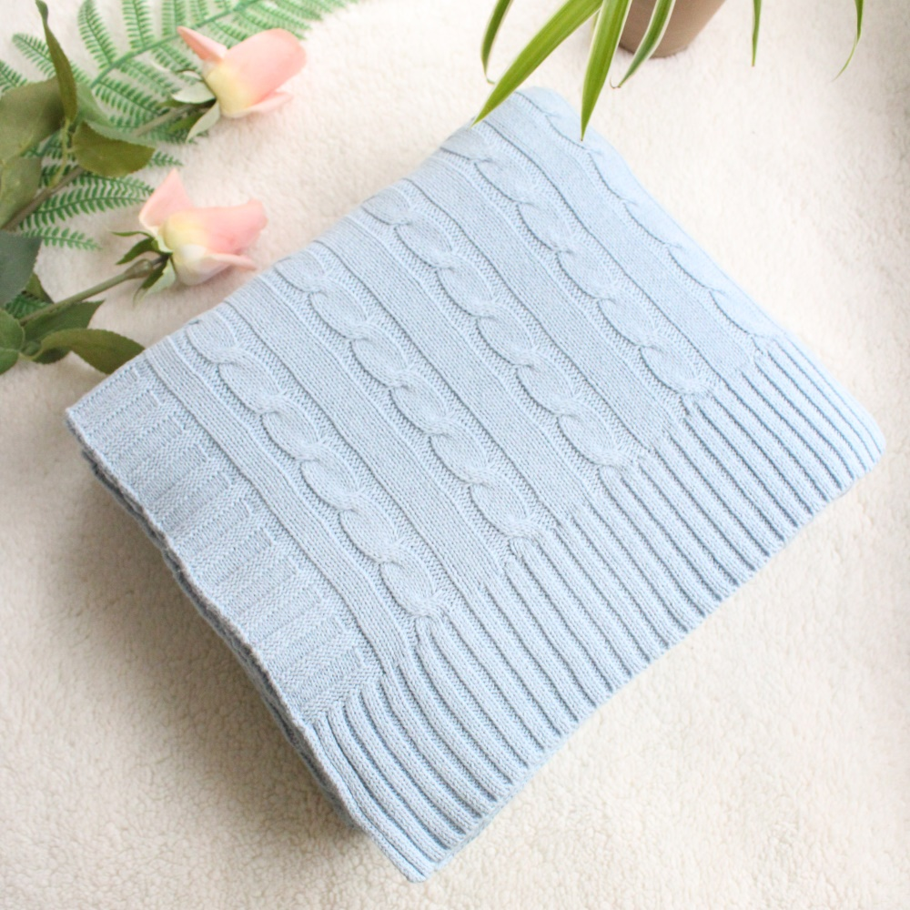 130X180cm Nordic Solid Color Cotton Cable Knitted Blanket Winter Thick Thermal Blanket Quilt Cover Sofa Throw Blanket For Sofa