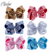 6Pcs Lot 7 Inch Large Soft Leather Hair Bow With Alligator Clip Girls Bling Hairbows Christmas