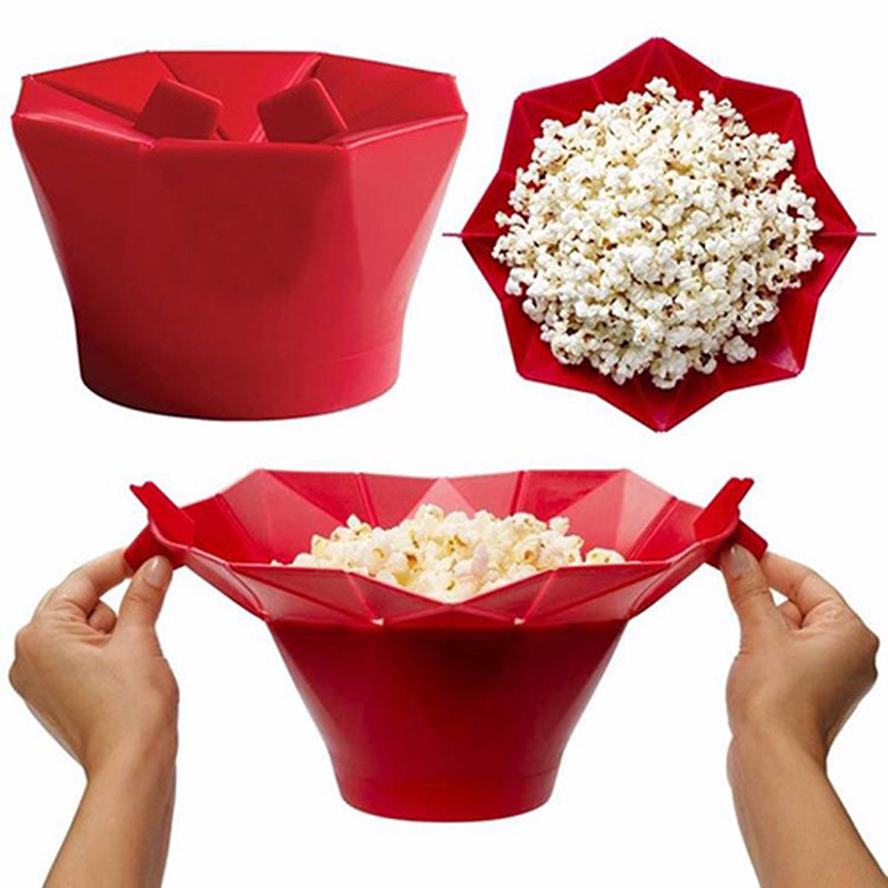 DIY Silicone Popcorn Bowl Foldable Microwave Popcorn Bucket Popper Maker Box Snack Food Container Bakware Kitchen Baking Tool