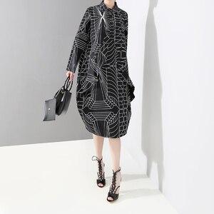 Image 3 - 2020 Korean Style Women Loose Plus Size Black Shirt Dress Long Sleeve Striped Printed Ladies Casual Midi Party Dresses Robe 4703
