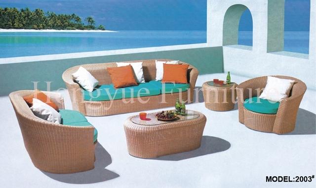 Muebles de ratán sofá de jardín conjunto con cojines y almohadas venta