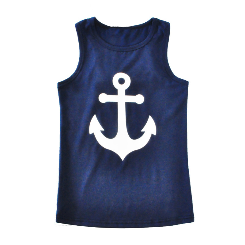Mom daughter t shirt anchor bow t shirts family matching clothing 2017 new sleeveless mother son