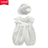 IYEAL Newborn Baby Boy Christening Romper Outfit Toddler Boy Jumpsuit With Hat Kids Infant Overalls 1st Birthday Boys Clothes
