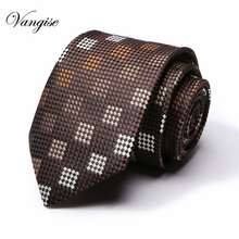 Brown check plaid Ties for Men Casual Cotton Neck Tie For Wedding Cravat Neckties Business office group