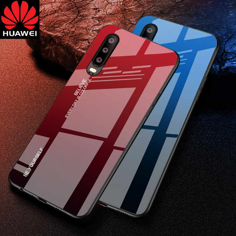 Gradient Tempered Glass Phone Case For Huawei Mate 20 10 P20 Pro P30 Lite Nova 3i 3E 4 Coque Capa For Honor 8X 9 10 Lite Cover